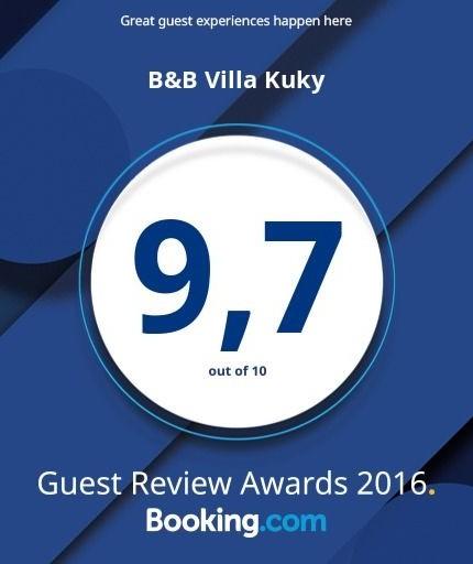 Valutazione media degli ospiti anno 2016 B&B Villa Kuky - Voto 9,7/10 - Booking.com