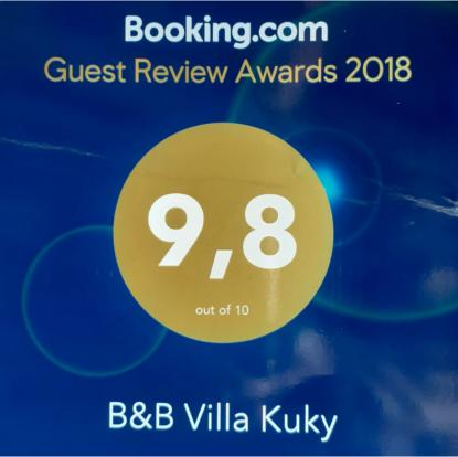 Valutazione media degli ospiti anno 2018 B&B Villa Kuky - Voto 9,8/10 - Booking.com